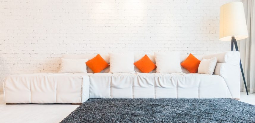 Pillow on white sofa decoration in living room interior